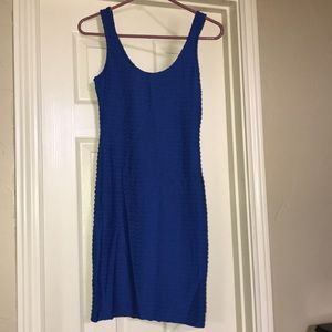 Blue ribbed tank dress.